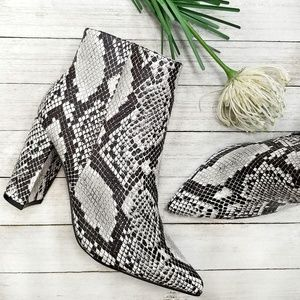 New Snake Chunky Heel Point Toe Booties Boots